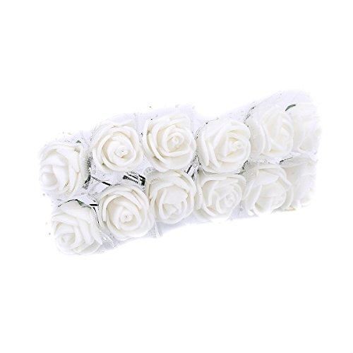 Tininna artificiale fiori,144 pz mini fiori carta rosa di nozze fai da te per bomboniera artigianale .-bianco