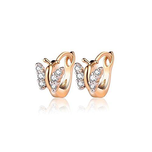 BOBIJOO Jewelry - Paar Ohrringe Ohren, Kind, Baby Mädchen Gold Ende Creolen Schmetterlinge Strass (Baby-diamant-ohrringe)