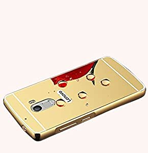 Droit Luxury Metal Bumper + Acrylic Mirror Back Cover Case For Lenovo K4 Note Gold + Flexible Portable Thumb OK Stand by Droit Store.