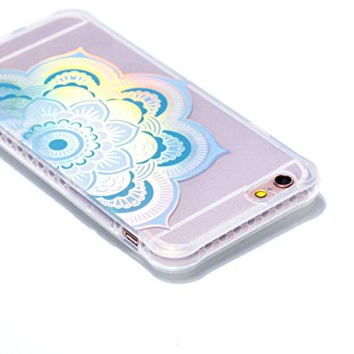 iPhone 6 Plus/6S Plus Coque, Voguecase TPU avec Absorption de Choc, Etui Silicone Souple Transparent, Légère / Ajustement Parfait Coque Shell Housse Cover pour Apple iPhone 6 Plus/6S Plus 5.5 (Placage Placage colorés-Demi-fleur 06