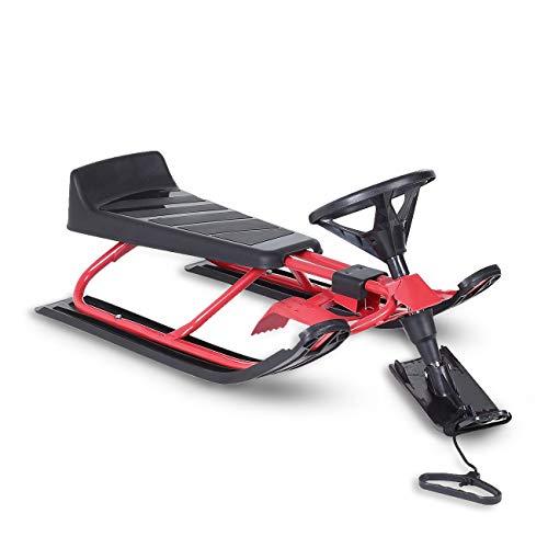 Samax slitta da corsa slittino con volante neve bambini freni rodel bob inverno qualità - rosso/nero