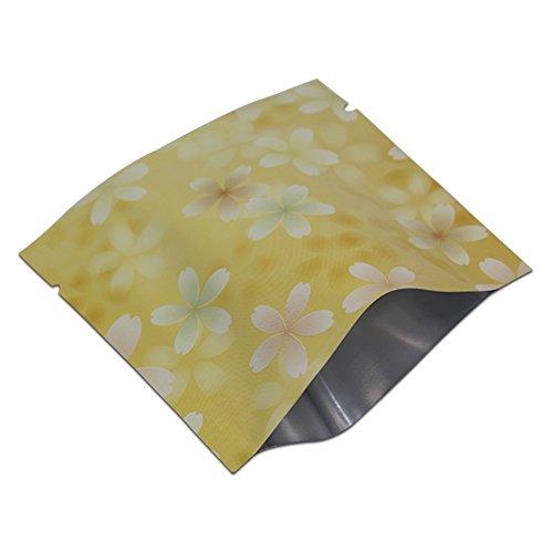 WACCOMT Pack 3.9x3.9 inch Mylar Folie Farbig Verpackung Lagerung Taschen mit Reißen Lebensmittel Essen Kleinegeschenke Speicherung Alumingfolie Heißsiegel Vakuum Tüten (200 Stück, Gelb)