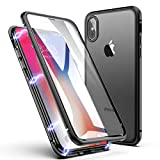 iPhone X/XS Hülle, ZHIKE Einteiliges Design magnetischer Adsorptionskasten Vollbildabdeckung Gehärtetes Glas Zurück mit eingebautem Magnetklappdeckel für iPhone X/XS (Transparent Schwarz)