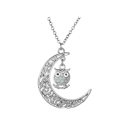 43c897bd42 Cosanter - Collana con pendente da donna con ciondolo a forma di luna e  gufo, placcato argento - Per feste, ballo di fine anno, regalo di compleanno