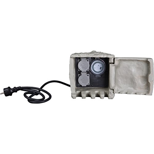 insatech 2fach Steinsteckdose BASIC STEIN Außensteckdose Steinform mit Zeitschaltuhr Timer