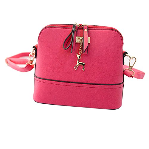 Schultertaschen Tasche Damen, Sunday Neue Frauen Messenger Bags Vintage Kleine Shell Leder Handtasche Casual PU-Leder Bag Outdoor Party (Grau) Rosa