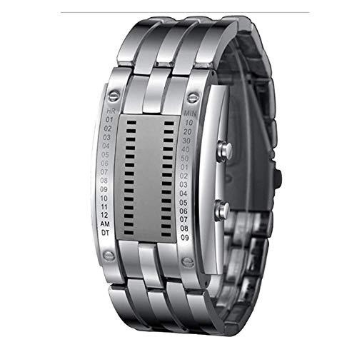 Binäre LED-Trend-Paar-Armbanduhr Aus Wolframstahl Für Männer Weiße Tuba Armbanduhren