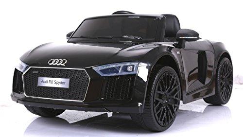 Véhicule électrique pour enfants Audi R8 Spyder Nouveau, Noir, Original Licence, Alimentation par Batterie, Portes d'ouverture, Siège en cuir, 2x Moteur, Batterie 12 V, télécommande 2.4 Ghz, roues