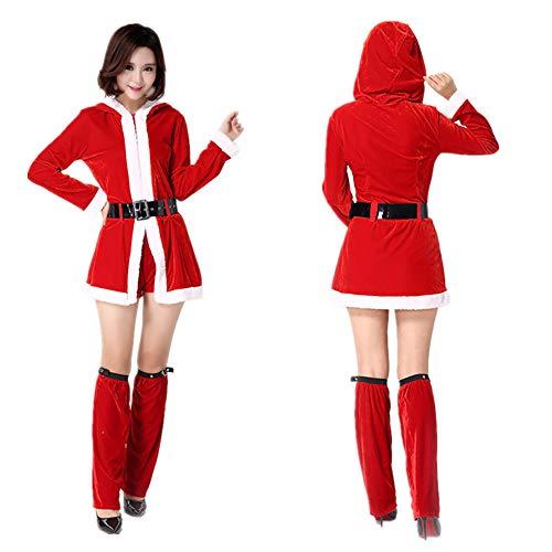 Frauen-Weihnachts Kostüm Glamourös Rotes Samt Kleid Cape Hat Und Santa Claus Kostüm Mit Weihnachtlicher Bühnen Show Kostüm Eine Größe (Teufel Kostüm Damen Mit Cape)