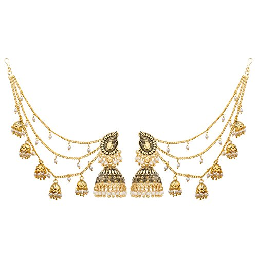 c12455be2a08 Aadita Ethnic Traditiona Gold Plated Bahubali Alloy Jhumki Earrings With  Hair Chain For Women And Girls