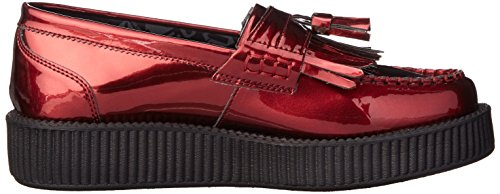 T.U.K. Shoes Women's Metallic Burgundy Patent Tassle Loafer Red