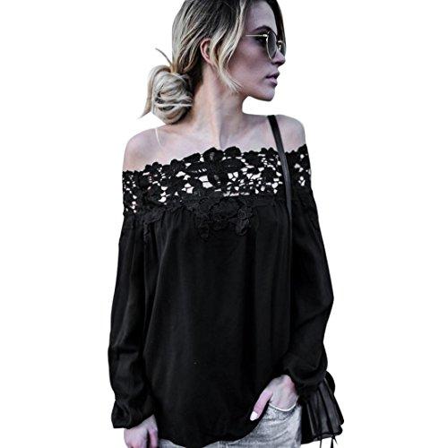 Damen Bluse FORH Frauen Sexy Schulterfrei SommerBluse Elegant Vintage Spitze Langarmshirt T-Shirt Casual Off Shoulder Tunika T-shirt Blusen Tops (Schwarz, M) (Schwarz-breite Spitze-top -)