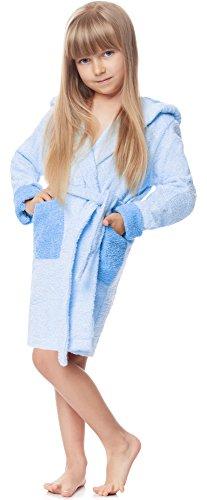 Ladeheid Kinder Frottee Bademantel aus 100% Baumwolle LA40-103 (Hellblau/Blau (P14/M9), 110-116)