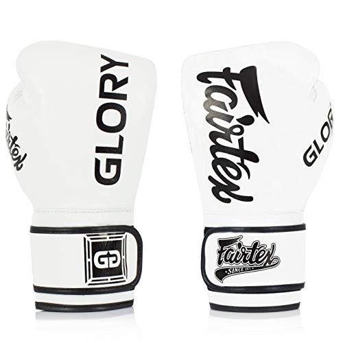 Fairtex X Glory - Guantoni da Boxe per Kickboxing Sparring Muay Thai in Pelle, Realizzati a Mano in Thailandia, BGVG1W, Bianco, 16 Once