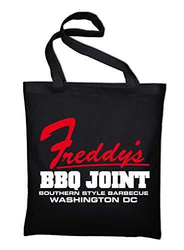 Freddy's BBQ Joint Logo Jutebeutel, Beutel, Stoffbeutel, Baumwolltasche, natur Schwarz