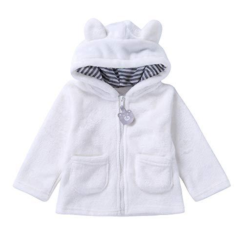 Deloito Babykleidung Neugeborene Baby Flanell Kleider Sweatjacke Jungen Mädchen Karikatur Langarm Warm Mantel Mit Kapuze Reißverschluss Oberteile (Weiß,12-18 Monate) - Baby-jungen-langarm-flanell
