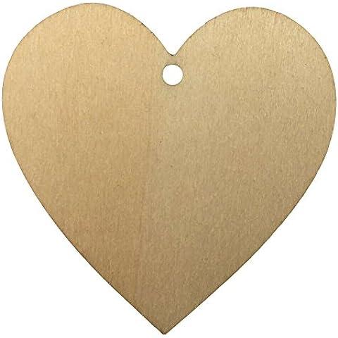 25pcs corte láser de madera DM (colgante de 7corazones Craft Blanco Placa signos tarjeta 3mm de grosor, ideal para scrapbooking, etiquetas de regalo, Navidad, Bodas o decoraciones colgantes, A: