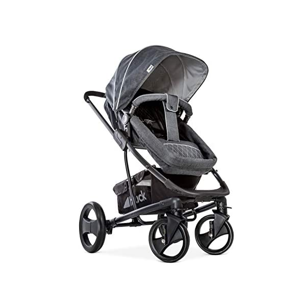 Hauck Pacific 4 Shop N Drive, Lightweight Pushchair Set with Group 0 Car Seat, Carrycot Convertible to Reversible Seat, Footmuff, Large Wheels, From Birth to 25 kg, Melange Charcoal Hauck  2