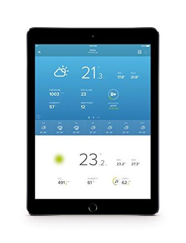 41FJmKFMgsL [Bon Plan Netatmo] Netatmo Station Météo Intérieur Extérieur Connectée Wifi pour Smartphone - Capteur Sans fil - Thermomètre, Hygromètre, Baromètre, Sonomètre, Qualité de l'air - Compatible avec Amazon Alexa