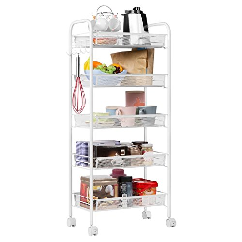 LPZ-Shelving 5-Tier Küchenwagen | Metal Wire Mesh Serving Rollwagen Dienstprogramm Organisation Regal | Movable Storage Rack Regal im Badezimmer Küche Heavy Duty Metall Stahl, Weiß -