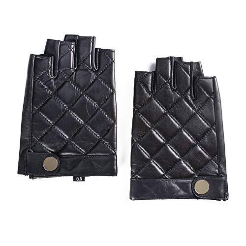 rlose Schaffell Lederhandschuhe Halbfinger Autofahrer-Handschuhe Winter Leder, schwarz Groß/9.5