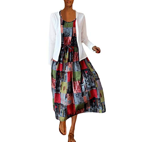 Kostüm Billig Skin Second - LOPILY 2 St. Twinset Hippie Kleid Damen Farbblock Druckkleid mit Spitzen Strickjacke Boho Oberteil Langarm Freizeit Patchwork Kleid Lose Atmungsaktives Kleid Umstandkleid Große Größen (Weiß, 40)