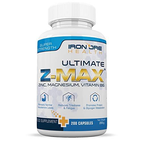 Z-MAX | 200 Premium Zink, Magnesium & Vitamin B6 Kapseln | Behält Testosteronspiegel bei, Weniger Müdigkeit, Besserer Schlaf, Protein Synthese | 3 Monatsvorräte | Hergestellt von Iron Ore Health im UK