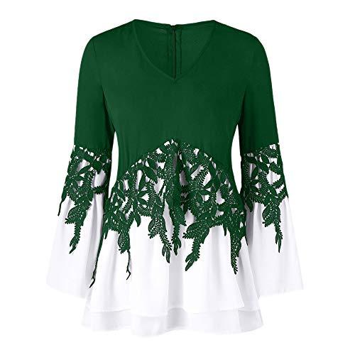Bluse Bluelucon Damen Oberteile Chiffon Schulterfrei Blumendruck Langarm Tops Casual Applique Flowy V-Ausschnitt Tops Plus Größe Herbst und Winter