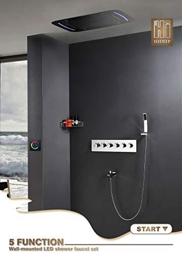 Hand-jet-massage-system (Shower System LED Regendusche Set -Hand Dusche Body Jet Massage Thermostat Mischer Badezimmer Decke Duschkopf Armaturen)