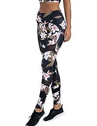 Nibesser Femme Pantalon de Sport Imprime Floral Slim Legging Elasticite Elevee Respirant Skinny Sechage Rapide pour Yoga Pilate