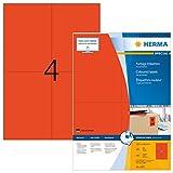 Herma 4397 Farbetiketten (105 x 148 mm, Format DIN A6 auf DIN A4 Papier matt) 400 Stück auf 100 Blatt, rot, bedruckbar, selbstklebend