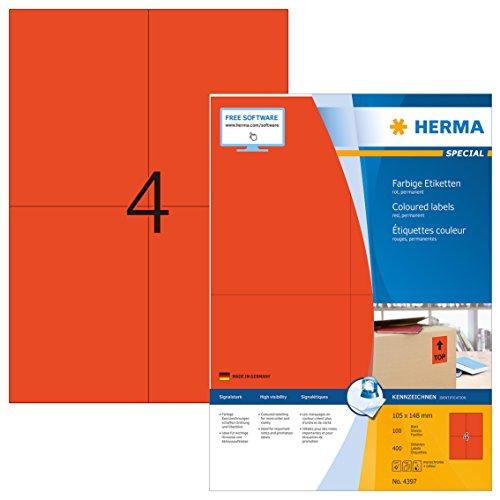 Herma 4397 Farbetiketten rot (105 x 148 mm, Format DIN A6) 400 Aufkleber, 100 Blatt DIN A4 Papier matt, bedruckbar, selbstklebend