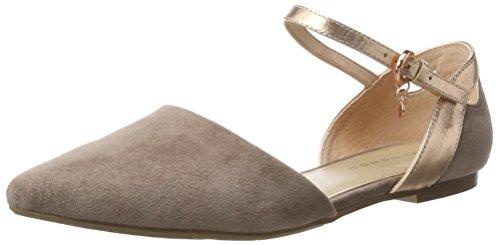 Belmondo Sandalen-damen, Zapatos De Tacón De Cuero Beige Con Correa En T (beige)