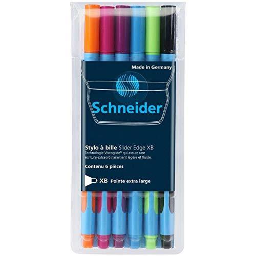 SCHNEIDER Pochette de 6 stylos a bille Slider Edge XB - Caoutchouc et pointe inox - Noir, orange, rose, violet, bleu et vert