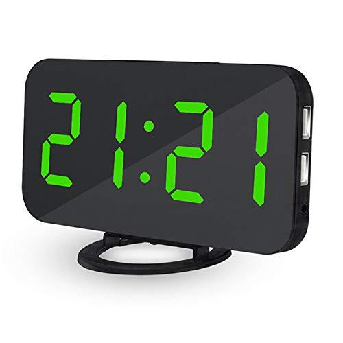 DOGZI Wecker Digital LED Wanduhr 3D, Uhren & Wecker Batteriebetrieben, LED Digital Wecker mit USB Port für Telefon Ladegerät Touch-Activited Snooze - Telefon-ports