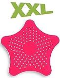 HOMETOOLS.EU® - XXL großes Silikon Abfluss-Sieb mit Saugnäpfen | für Küche Spüle Bad Wanne Dusche gegen Haare, Krümel | 15 x 15cm, rot