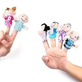 6 Burattini Pupazzi Marionette da Dita Figura Umana Famiglia