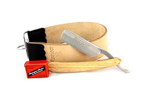 RAZZOOR 3-teiliges Rasiermesser Set Chanaar Stainless - Klassisches Rasiermesser Set mit rostfreier Edelstahl-Klinge - Streichriemenpaste aus Solingen + Streichriemen aus echtem Büffelleder