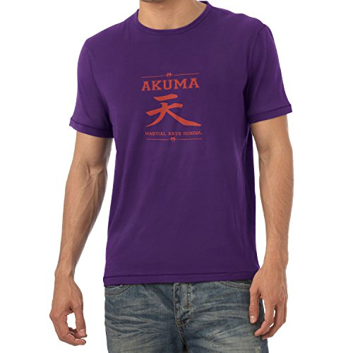 NERDO - Akuma Martial Arts School - Herren T-Shirt, Größe S, (Warrior Demon Kostüm)