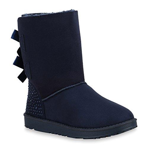 Damen Schlupfstiefel Warm Gefütterte Stiefel Stiefeletten Winter Boots Bommel Pailletten Glitzer Snake Print Schuhe Flandell Dunkelblau Brooklyn
