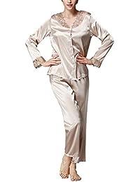 58f2ffc225 Dolamen Women Pyjamas Set, Ladies Soft Silky Stain Pyjamas Nightwear, Round  Neck Lace Flower