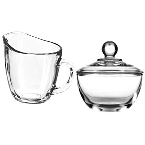Anchor Hocking Presence Creamer and Sugar Set Includes Glass Creamer Dispenser Pitcher and Glass Sugar Bowl with Lid - Bundle of 2 by Anchor Hocking