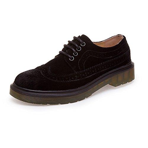 Men's British Style Nubuck Cow Split Leather Oxford Shoes Nubuck Black