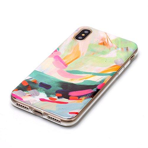 Custodia iPhone X - Cover in Silicone TPU - Surakey iPhone 10 Custodia Slim Ultra Sottile Gomma Morbida Gel Case 3D Modello di Colorate Glitters Antigraffio Antiurto Protezione Posteriore Caso Flessib Modello#17