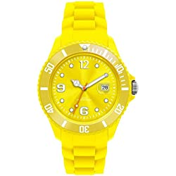 YELLOW I-STYLE QUARTZ RUBBER SILICONE SPORTS WATCH UNISEX WITH DATE