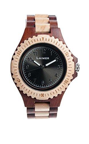 LAiMER Holzuhr 0014 - Damen Armbanduhr aus 100% Ahorn und Zürgelbaumholz für einzigartigen Tragekomfort und Lifestyle - natürlich, federleicht, Südtirol
