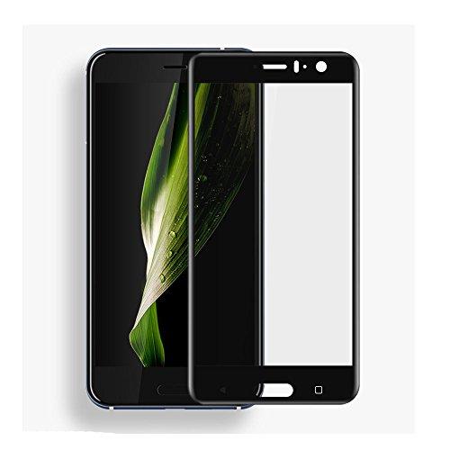 HTC U11/U 11Screen Protector, copertura completa 9H durezza pellicola proteggi schermo in vetro temprato per HTC U11con anti-impronte trasparente (nero)