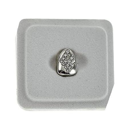 Pour homme plaqué argent 3rangées Iced Out pierres transparentes Hip Hop Bling amovible dents Ensemble haut et bas