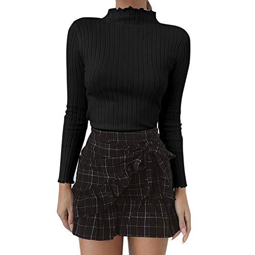 semen Damen Pullover Rollkragen Slim Fit Strickpullover Langarm Stretch Eng Figurbetont Streetwear Faschion Mode Sweater Top Oberteil