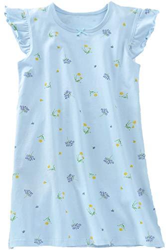 HOYMN Nachthemden für Mädchen Kurzarm Baumwolle Nachthemd Blumen Schlaf-Shirts Nachtwäsche 3-12 Jahre
